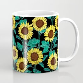 Sunny Sunflowers - Black Coffee Mug