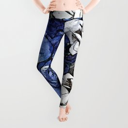 Blue and White flowers Bouquet Floral Pattern Leggings
