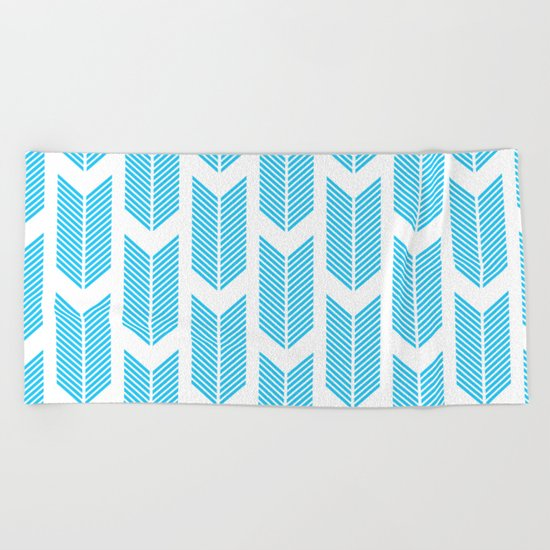 Simple Aqua and white arrow chevron - for your summer on #Society6 Beach Towel