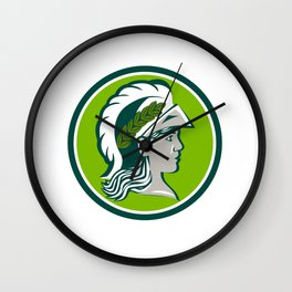 Minerva Wearing Laurel Circle Retro Wall Clock