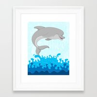 dolphin Framed Art Prints featuring Dolphin by Finlay McNevin
