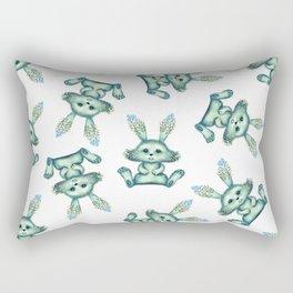 Blue rabbit with flora instead of coat Rectangular Pillow