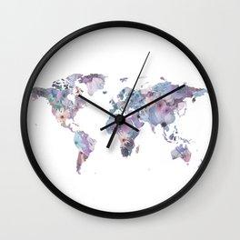 Watercolor Floral Map Wall Clock