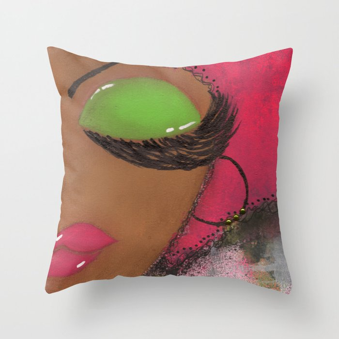 Pink and Green Sassy Girl Throw Pillow