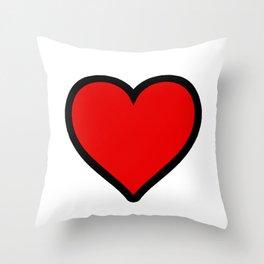 Bold Red Heart Shape Valentine Digital Illustration, Minimal Art Throw Pillow