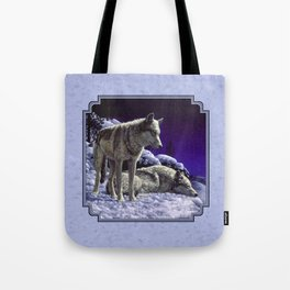 Night Watch Wolves in Snow Tote Bag