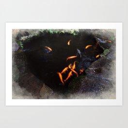 Travel Painting - Japanese Koi Pond Art Print
