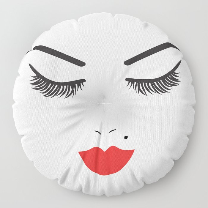 Beauty Face with Red Lips Floor Pillow