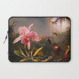 Martin Johnson Heade Cattleya Orchid and Three Brazilian Hummingbirds Laptop Sleeve