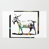goat Area & Throw Rugs featuring Goat by LoRo  Art & Pictures