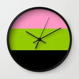 Just three colors 2 pink,green,black Wall Clock