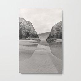 Tidal Pool Cannon Beach Oregon Coast Cave Forest Reflection Rocks Shoreline Nautical Northwest Pacif Metal Print
