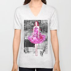 My rose dress fashion illustration concept. Unisex V-Neck