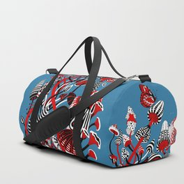 Magic Mushroom Red black blue Duffle Bag