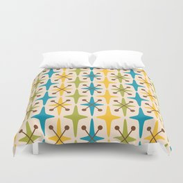 Mid Century Modern Abstract Star Pattern 441 Yellow Brown Turquoise Chartreuse Duvet Cover
