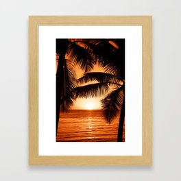 Perfect Palm Sunset (Color) Framed Art Print