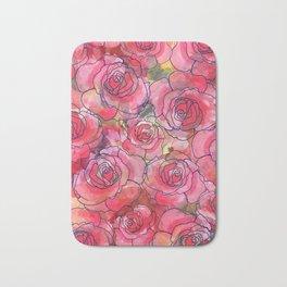 Red Watercolor Roses Bath Mat