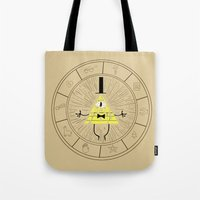 bill cipher Tote Bags featuring Bill Cipher summoning by Rebecca McGoran