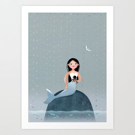 Milla Mermaid sitting on a stone enjoying a summer rain Art Print
