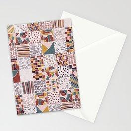 Hand Drawn Geometric Square Pattern Design - Burgundy Stationery Cards