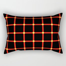 Composition of red vertical and horizontal lines with moving dots illusion Rectangular Pillow