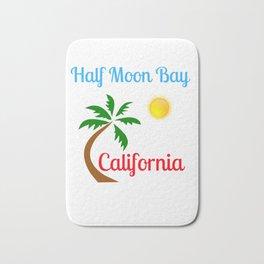 Half Moon Bay California Palm Tree and Sun Bath Mat