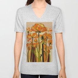 70s, Orange California poppies, mid century, 70s retro, flowers Unisex V-Neck