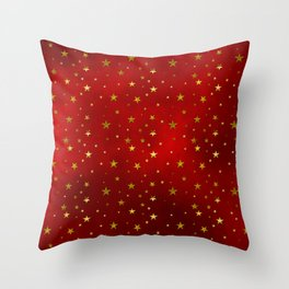Golden Stars on Royal Red Throw Pillow