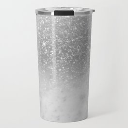 White Marble Silver Ombre Glitter Glam #1 #shiny #gem #decor #art #society6 Travel Mug