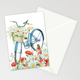 Blue bike & red poppy Stationery Cards