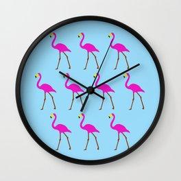 Flamingos in blue Wall Clock