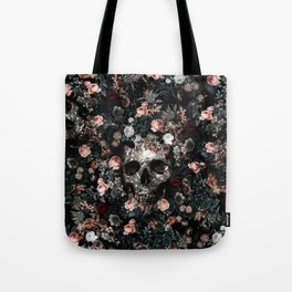 Skull and Floral pattern Tote Bag