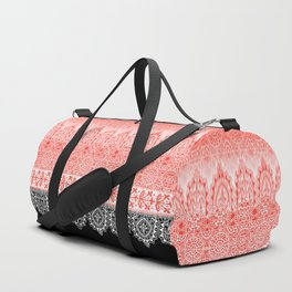 crochet lace in red Duffle Bag
