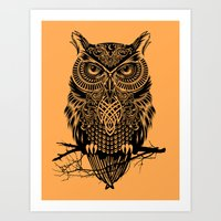 owl Art Prints featuring Warrior Owl 2 by Rachel Caldwell