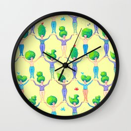 Topiary Ladies on Yellow Wall Clock