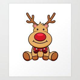 Cute Reindeer Merry Christmas Red Nose Rudolf Art Print