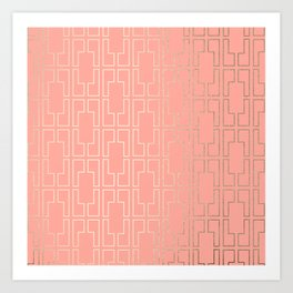 Simply Mid-Century in White Gold Sands on Salmon Pink Art Print
