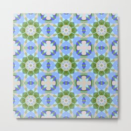 Tiled pattern design with fantasy flowers Metal Print
