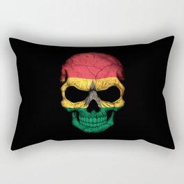 Dark Skull with Flag of Ghana Rectangular Pillow
