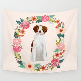 brittany spaniel dog floral wreath dog gifts pet portraits Wall Tapestry