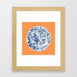 CHINOISERIE PLATE ON TANGERINE Framed Art Print