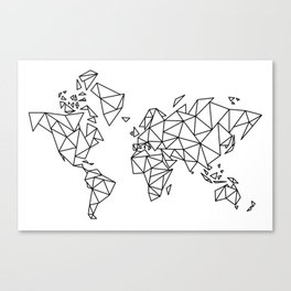 Geometric Low Poly Map of The World / Polygon geometry Canvas Print