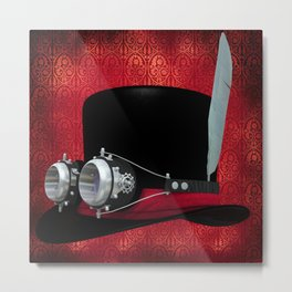 Steampunk Cylinder with Goggles Metal Print