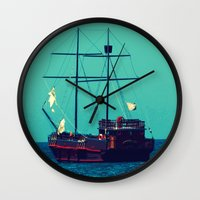 pirates Wall Clocks featuring Pirates by Endless Summer