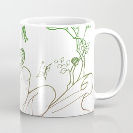 The Masked Fairy - leafy colors version - a masked fairy surrounded by butterflies and roses Coffee Mug