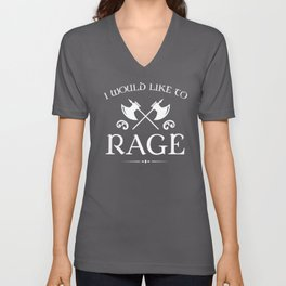 DnD Barbarian I Would Like To Rage Dungeons and Dragons Inspired Tabletop RPG Gaming Unisex V-Neck