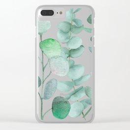 Watercolor, eucalyptus, leaves, botanical, foliage, plants, jungle decor Clear iPhone Case