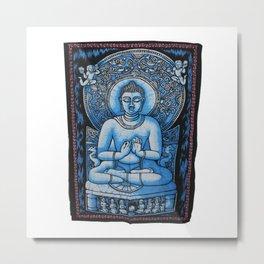 Buddha Meditation Batik Wall Hanging Metal Print