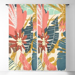 Tropical Flowers and Leaves Blackout Curtain