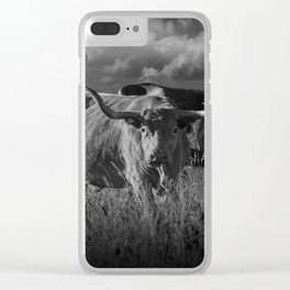 Texas Longhorn Steers under a Cloudy Sky in Black & White Clear iPhone Case